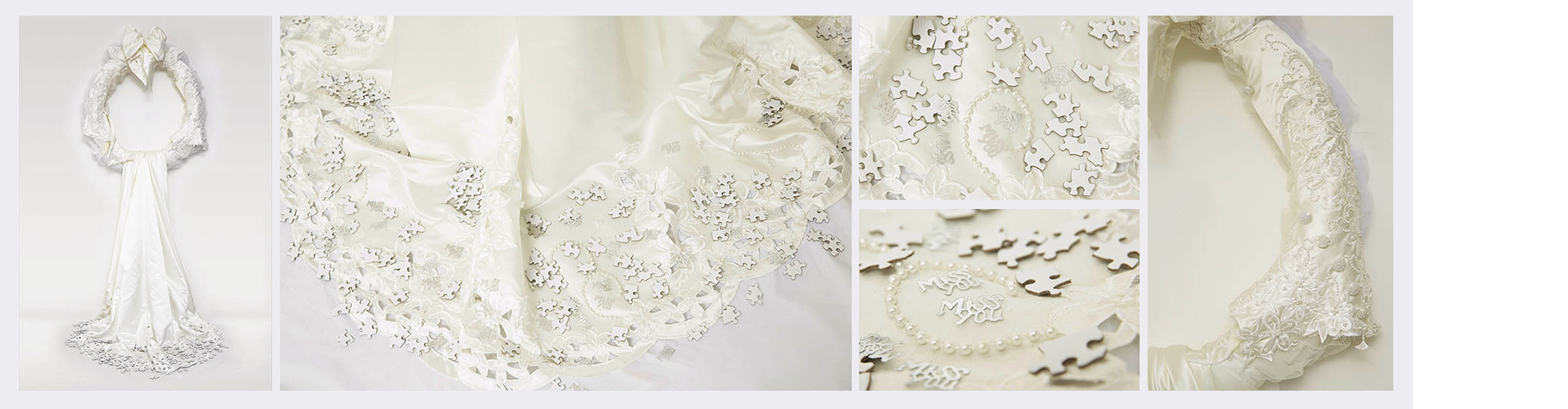 Bits & Pieces  (2015)   (186cm x 75cm)   Deconstructed wedding dress  /  blank jigsaw pieces  /  padded hoop.
