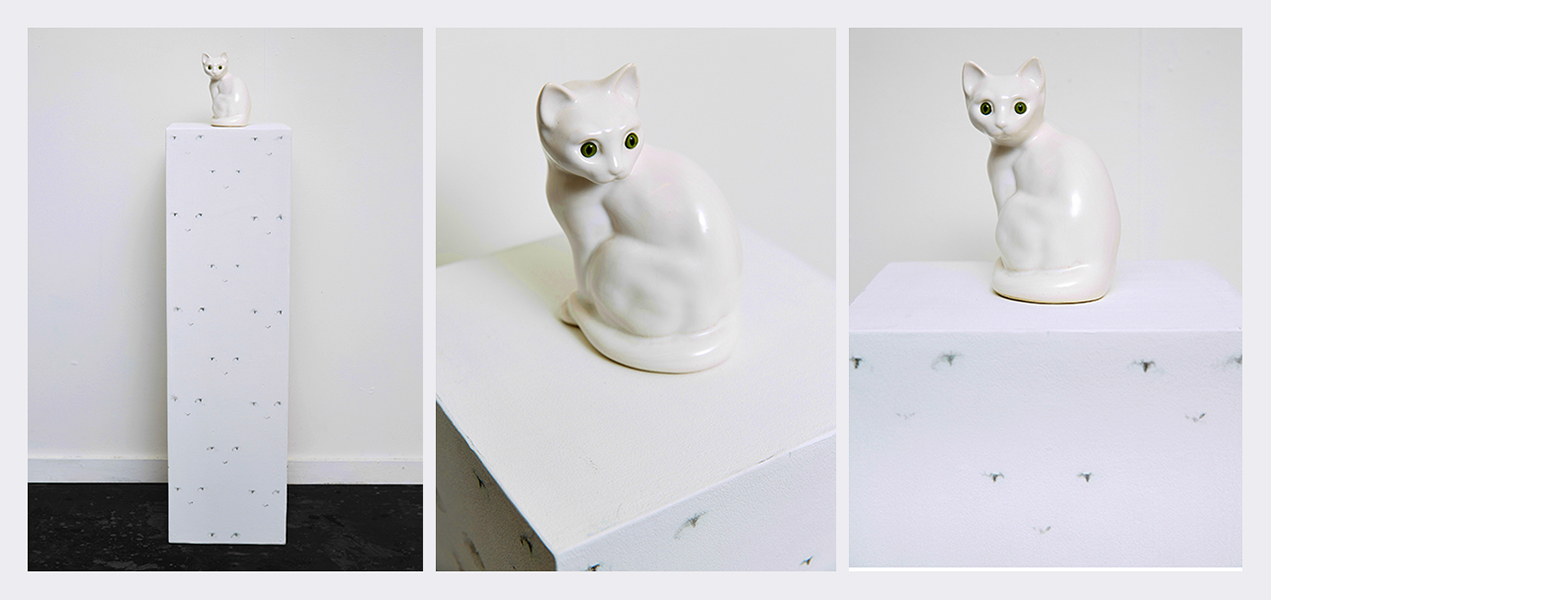 Ghostcat  (2014) - Ceramic cat  / printed cats eye plinth  / mp3 player / concealed vibration speakers. Audio: 2.32