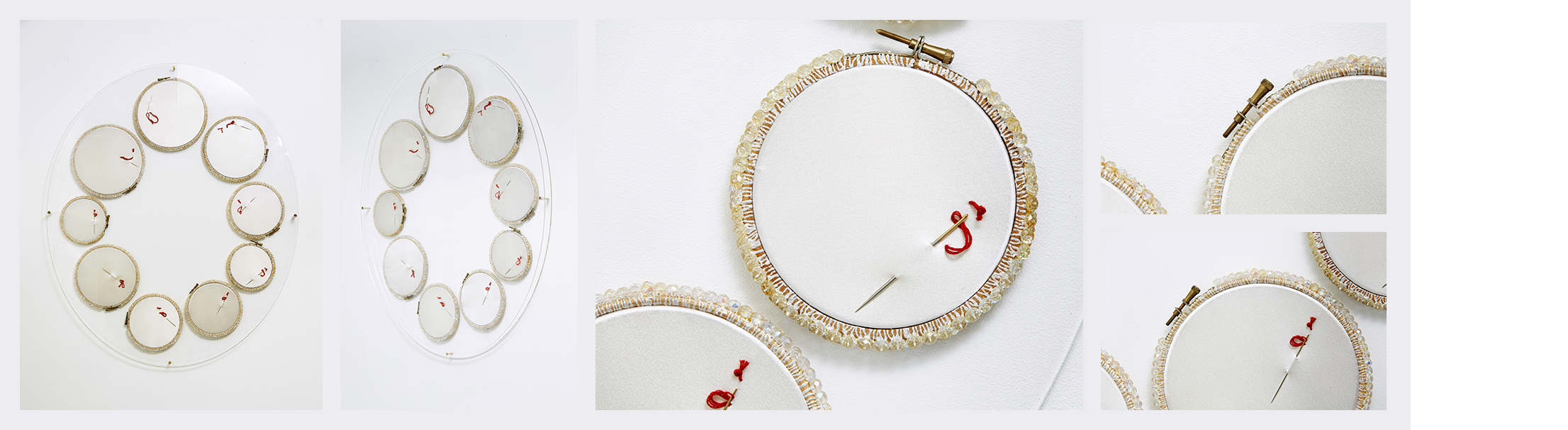 Hymeneal  (2005)   (92cm (l) x 77cm (w))   Embroidery rings  /  Swarvorski  crystals  /  silk  /  needles  /  embroidery thread  /  perspex.