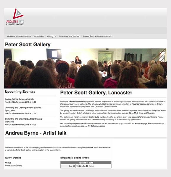Peter Scott Gallery, Lancaster University (photo Alix Davies @LancasterArts) - November 2015
