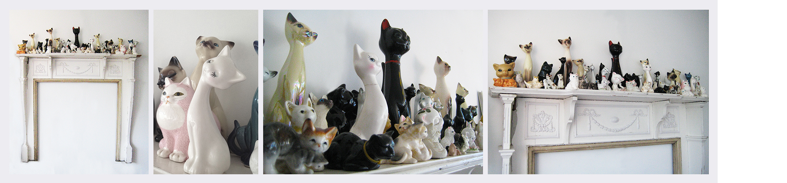 Feral  (2006 - 2014)   (153cm x 153cm)   Ceramic cats  /  Victorian mantle.