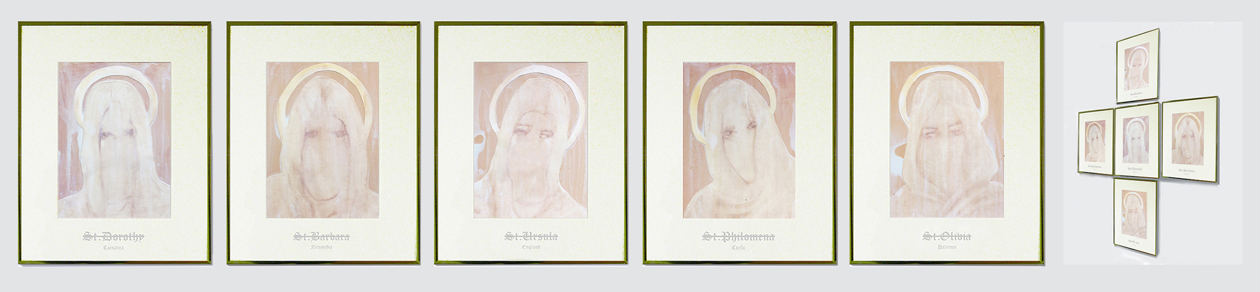 Sinopia :  St. Dorothy  /  St. Barbara  /  St. Ursula  /  St. Philomela  /  St. Olivia  (2015)   (51cm x 41cm x 5 / Dimensions variable)   Watercolour on paper  /  gold framed etched glass.
