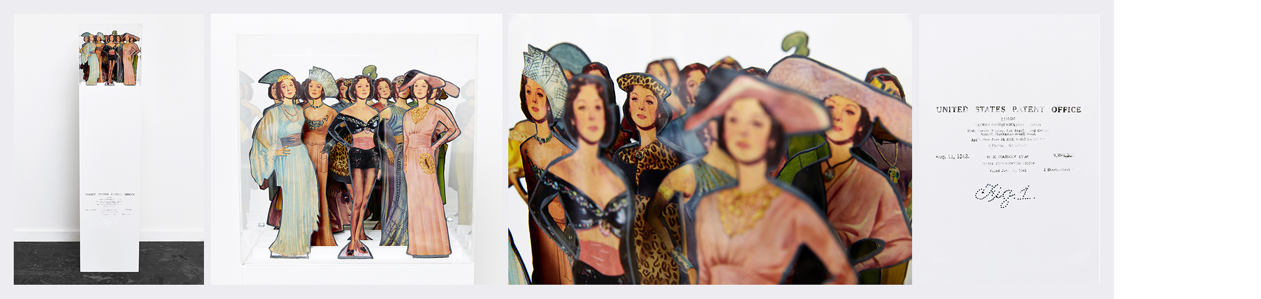 Figure 1 (2014) - 31cm (d) x 31cm (w) x 98cm (h) Original 1942 Hedy Lamarr paper dolls / wooden plinth / Mp3 player / LED / Perspex box / mini speakers. Audio; manipulated extracts 3.12
