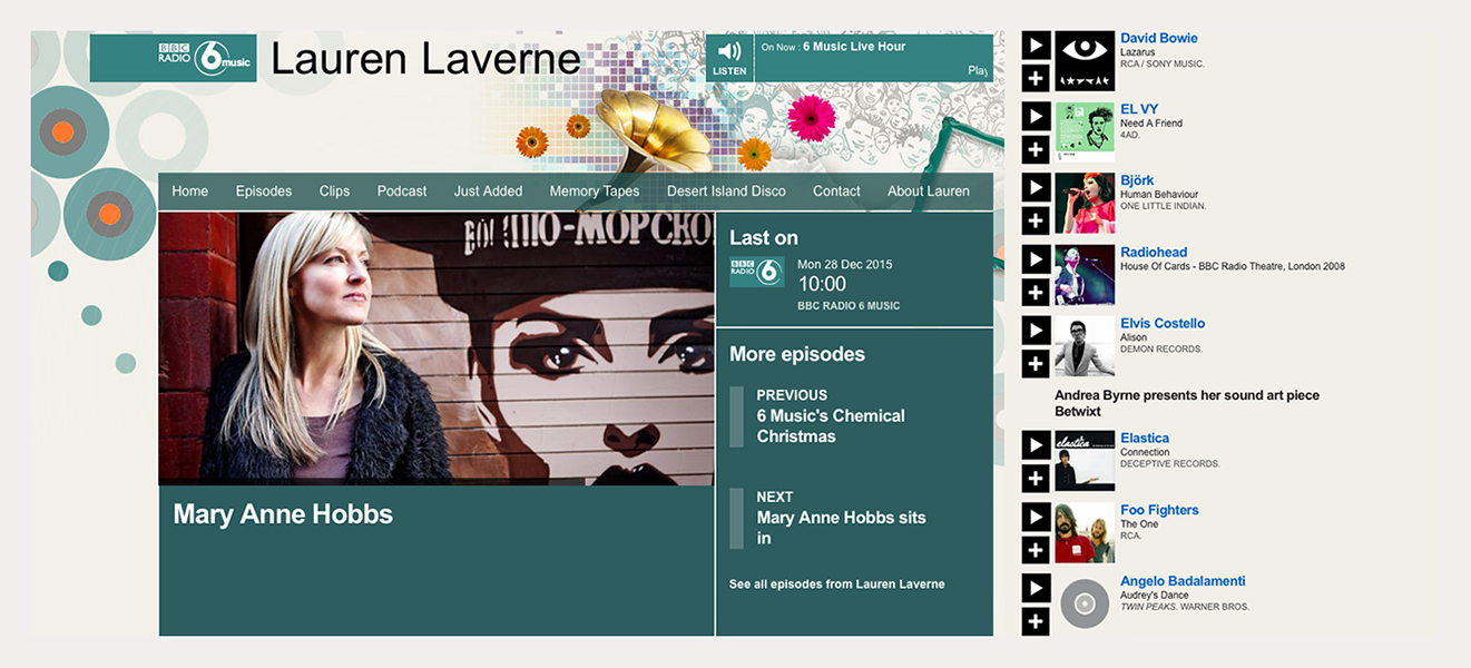 BBC 6 Music Mary Anne Hobbs (Lauren Laverne show) - Broadcast 28th December 2015 (see panel for radio audio).