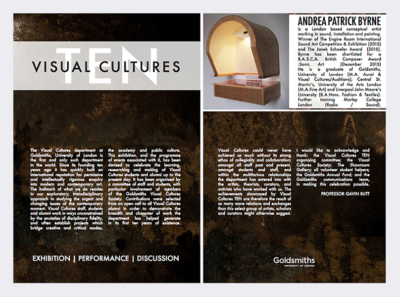 Goldsmiths College University of London Visual Cultures 'Ten Exhibition' catalogue & 'Ephemeral' magazine - December 2015 (see link in panel).