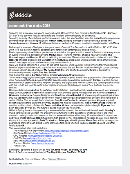 Connect - Skiddle May 2014 (see link in panel below radio files).