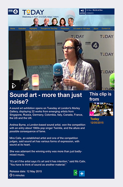 BBC Radio 4's 'Today' - Broadcast 12th May 2015  (see link in panel).