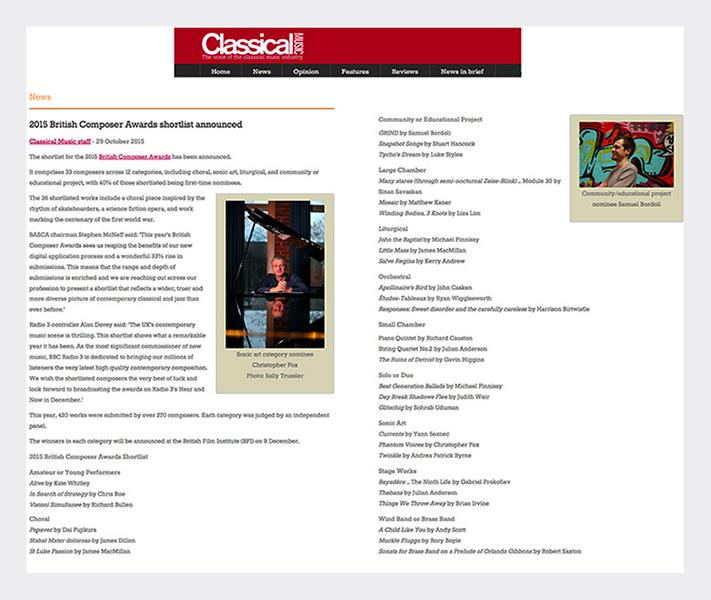 Classical Music Magazine - November 2015 .