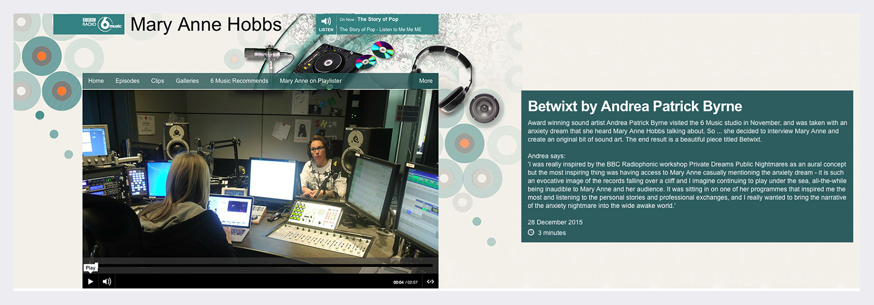 BBC 6 Music Mary Anne Hobbs (Lauren Laverne show) - Broadcast December 2015 (see panel for radio audio).