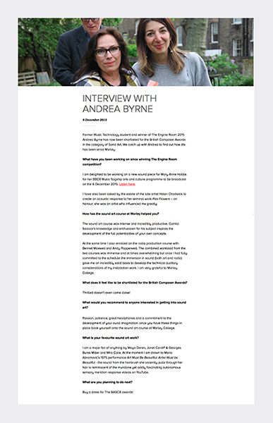Interview with Morley Gallery 2015 (see link in panel below radio files).
