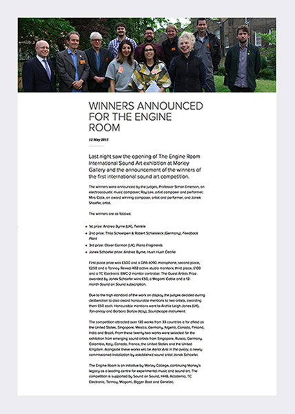 The Engine Room International Sound Art Awards (see link in panel).