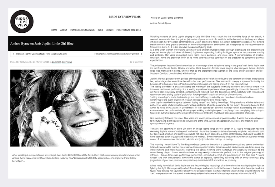 Birds Eye View Films / Janis: Little Girl Blue - Royal Albert Hall London March 2016  (see link in panel below radio files for notes).